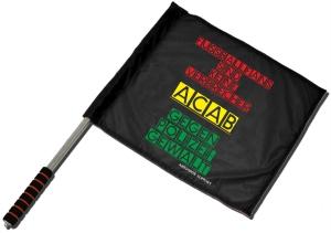 Fahne / Flagge (ca. 40x35cm): Fussballfans sind keine Verbrecher - ACAB - Gegen Polizeigewalt