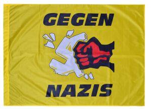 Fahne / Flagge (ca. 150x100cm): Gegen Nazis - gelb