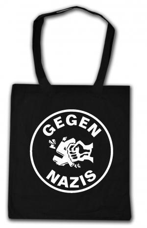 Baumwoll-Tragetasche: Gegen Nazis (rund)
