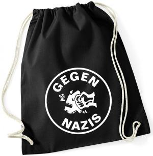 Sportbeutel: Gegen Nazis (rund)