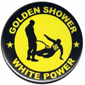 25mm Button: Golden Shower white power