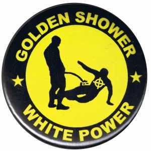 37mm Button: Golden Shower white power