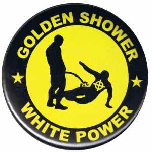 25mm Magnet-Button: Golden Shower white power