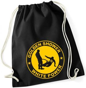 Sportbeutel: Golden Shower white power