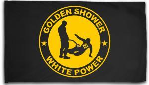 Fahne / Flagge (ca. 150x100cm): Golden Shower white power