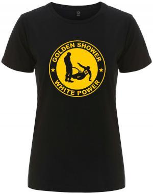 tailliertes Fairtrade T-Shirt: Golden Shower white power