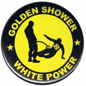 37mm Magnet-Button: Golden Shower white power