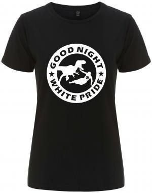 tailliertes Fairtrade T-Shirt: Good night white pride - Dinosaurier