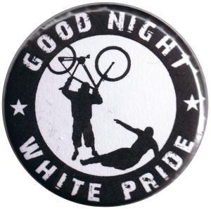 37mm Button: Good night white pride (Fahrrad)