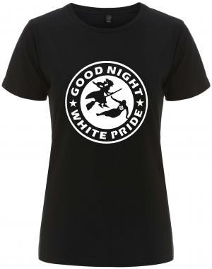tailliertes Fairtrade T-Shirt: Good night white pride - Hexe