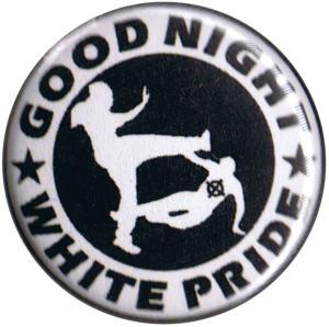 50mm Magnet-Button: Good night white pride (weiß/schwarz)