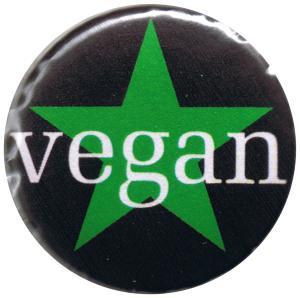 37mm Magnet-Button: Grüner Stern / Vegan