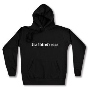 taillierter Kapuzen-Pullover: #haltdiefresse