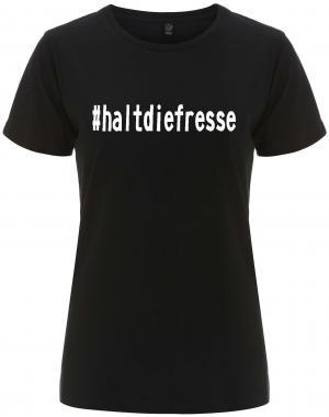 tailliertes Fairtrade T-Shirt: #haltdiefresse