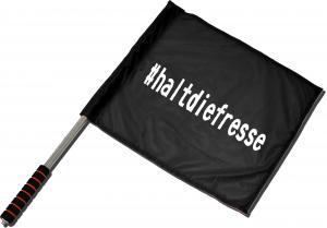 Fahne / Flagge (ca. 40x35cm): #haltdiefresse