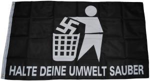 Fahne / Flagge (ca. 150x100cm): Halte deine Umwelt sauber