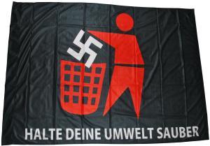 Fahne / Flagge (ca 150x100cm): Halte Deine Umwelt sauber