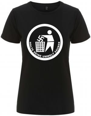 tailliertes Fairtrade T-Shirt: Halte Deine Umwelt sauber
