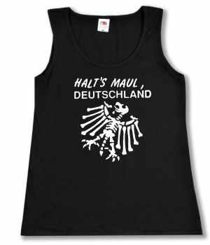 tailliertes Tanktop: Halt's Maul Deutschland (weiß)