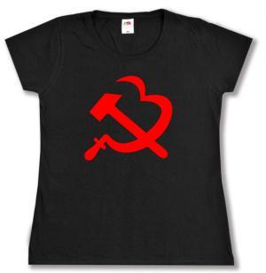 tailliertes T-Shirt: Hammer und Sichel (Herz)