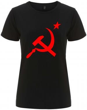 tailliertes Fairtrade T-Shirt: Hammer und Sichel mit Stern