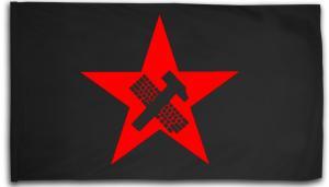 Fahne / Flagge (ca. 150x100cm): Hammer und Tastatur Stern