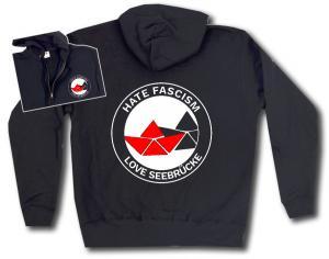 Kapuzen-Jacke: Hate Fascism - Love Seebrücke