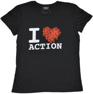 tailliertes T-Shirt: heart - black