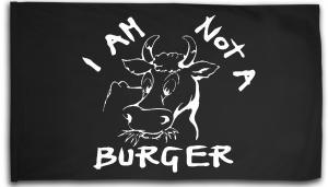 Fahne / Flagge (ca. 150x100cm): I am not a burger