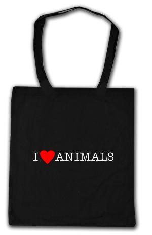 Baumwoll-Tragetasche: I love Animals