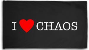 Fahne / Flagge (ca. 150x100cm): I love Chaos