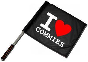 Fahne / Flagge (ca. 40x35cm): I love commies