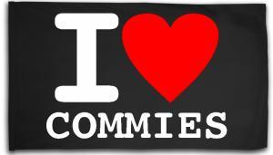 Fahne / Flagge (ca. 150x100cm): I love commies
