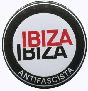 37mm Magnet-Button: Ibiza Ibiza Antifascista (Schrift)
