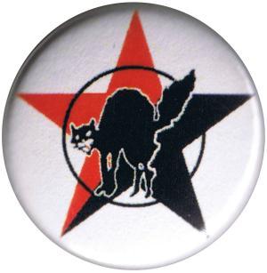 25mm Magnet-Button: Katze mit schwarz/rotem Stern