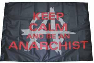 Fahne / Flagge (ca. 150x100cm): Keep Calm and be an Anarchist