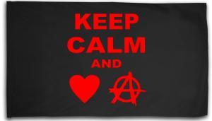 Fahne / Flagge (ca. 150x100cm): Keep Calm and love Anarchy