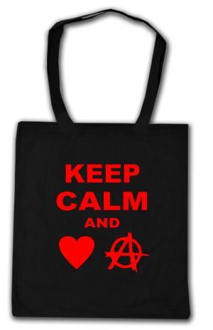 Baumwoll-Tragetasche: Keep calm and love anarchy