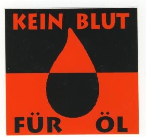 Aufkleber: Kein Blut für Öl