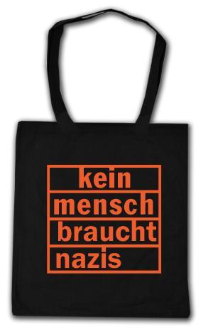 Baumwoll-Tragetasche: kein mensch braucht nazis (orange)