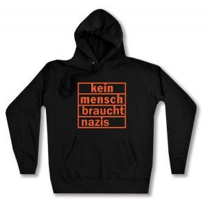 taillierter Kapuzen-Pullover: kein mensch braucht nazis (orange)