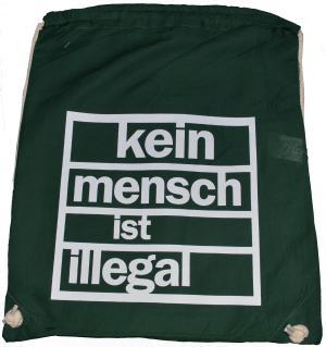 Sportbeutel: Kein Mensch ist Illegal (grün, weißer Druck)