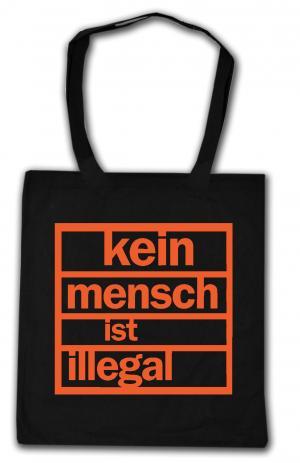 Baumwoll-Tragetasche: Kein Mensch ist illegal (orange)