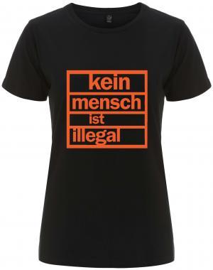 tailliertes Fairtrade T-Shirt: Kein Mensch ist illegal (orange)