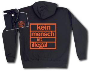 Kapuzen-Jacke: Kein Mensch ist illegal (orange)