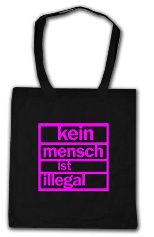 Baumwoll-Tragetasche: Kein Mensch ist illegal (pink)
