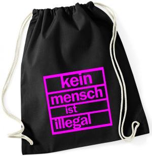 Sportbeutel: Kein Mensch ist illegal (pink)