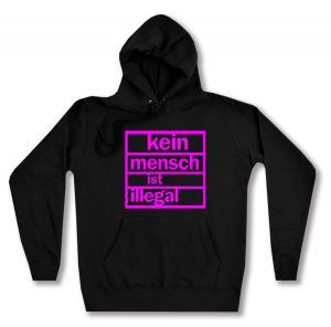 taillierter Kapuzen-Pullover: Kein Mensch ist illegal (pink)