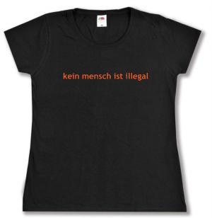 tailliertes T-Shirt: kein mensch ist illegal - Text