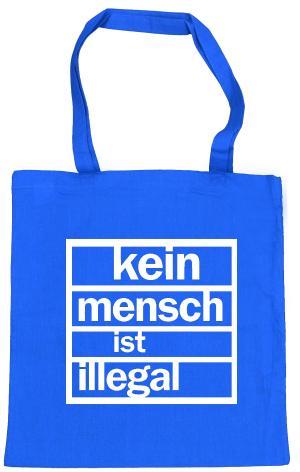 Baumwoll-Tragetasche: Kein Mensch ist Illegal (weiß/blau)